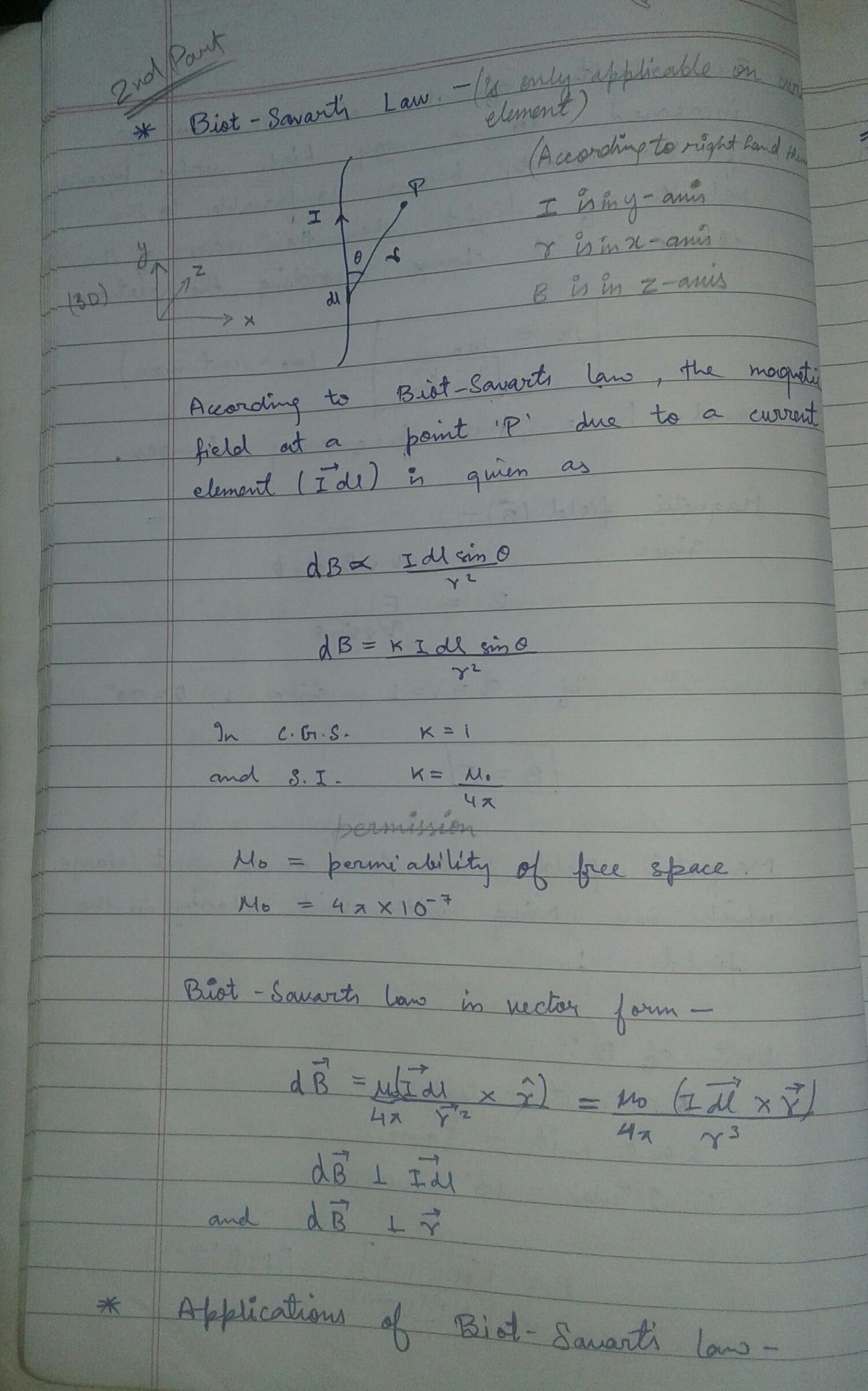 write using biot-savart's law the expression for the