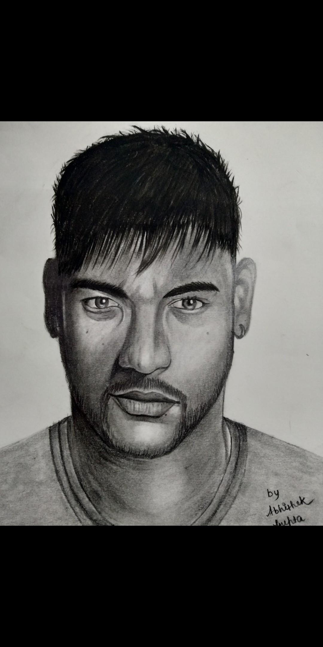 Sketch of neymar jr footballer