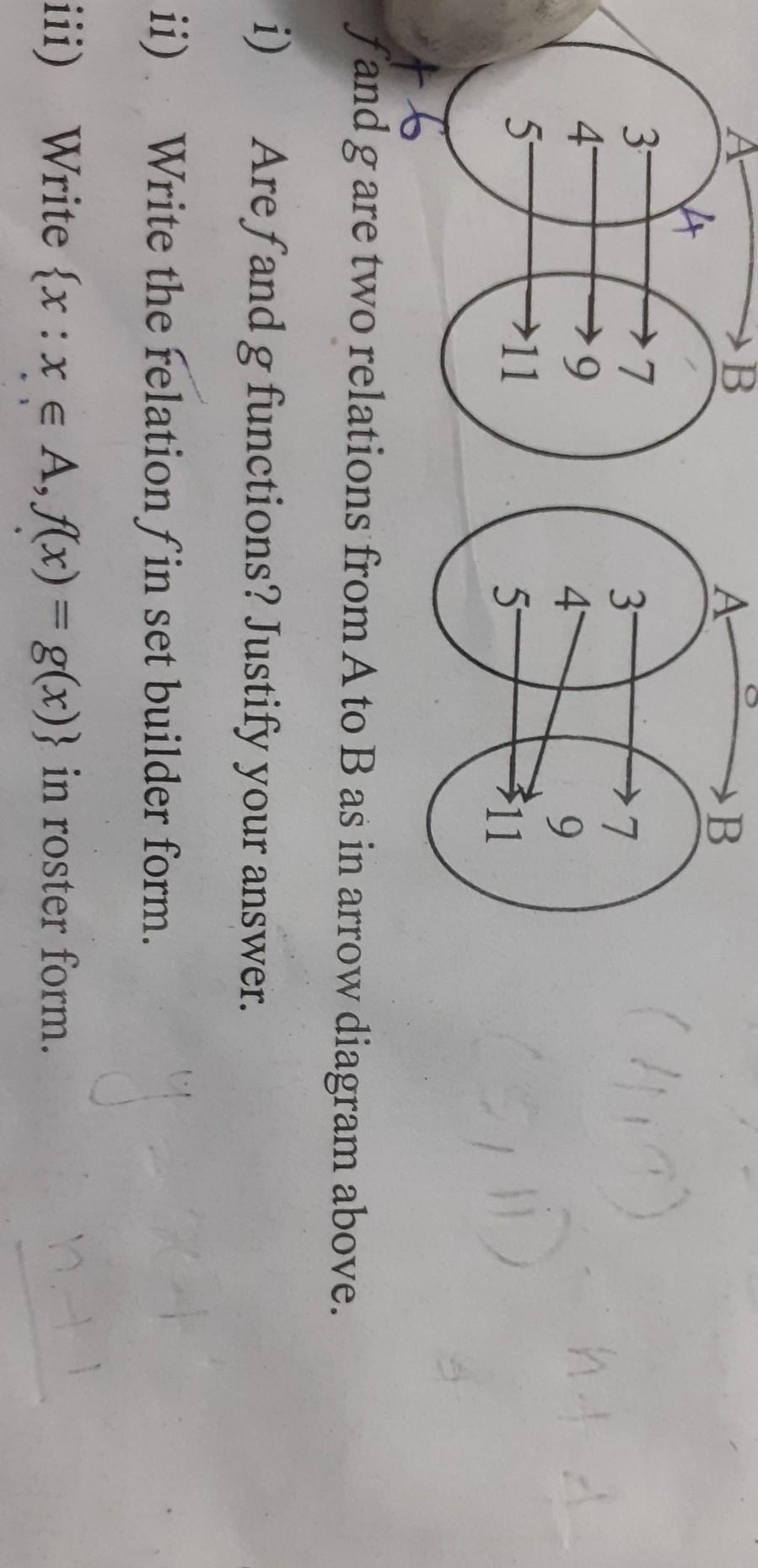 5-7x + 6f and g are two relations from A to B as