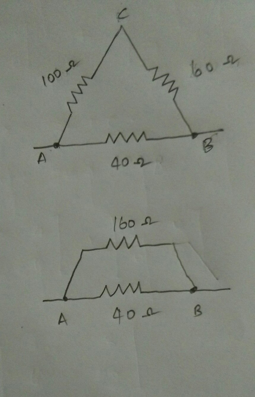Three Resistors Are Connected To Form The Sides Of A Triangle Abc B C Circuit Diagram Download