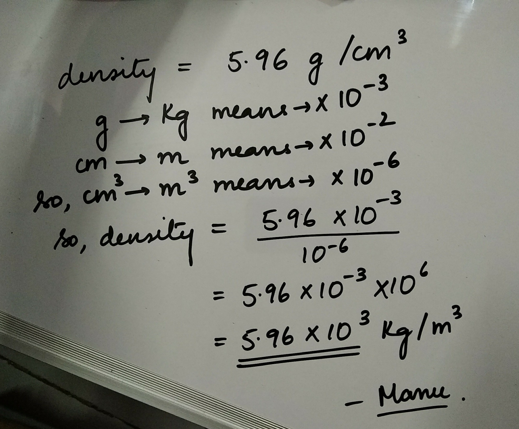 The density of vanadium is 5.96g/cm3 convert the density ...