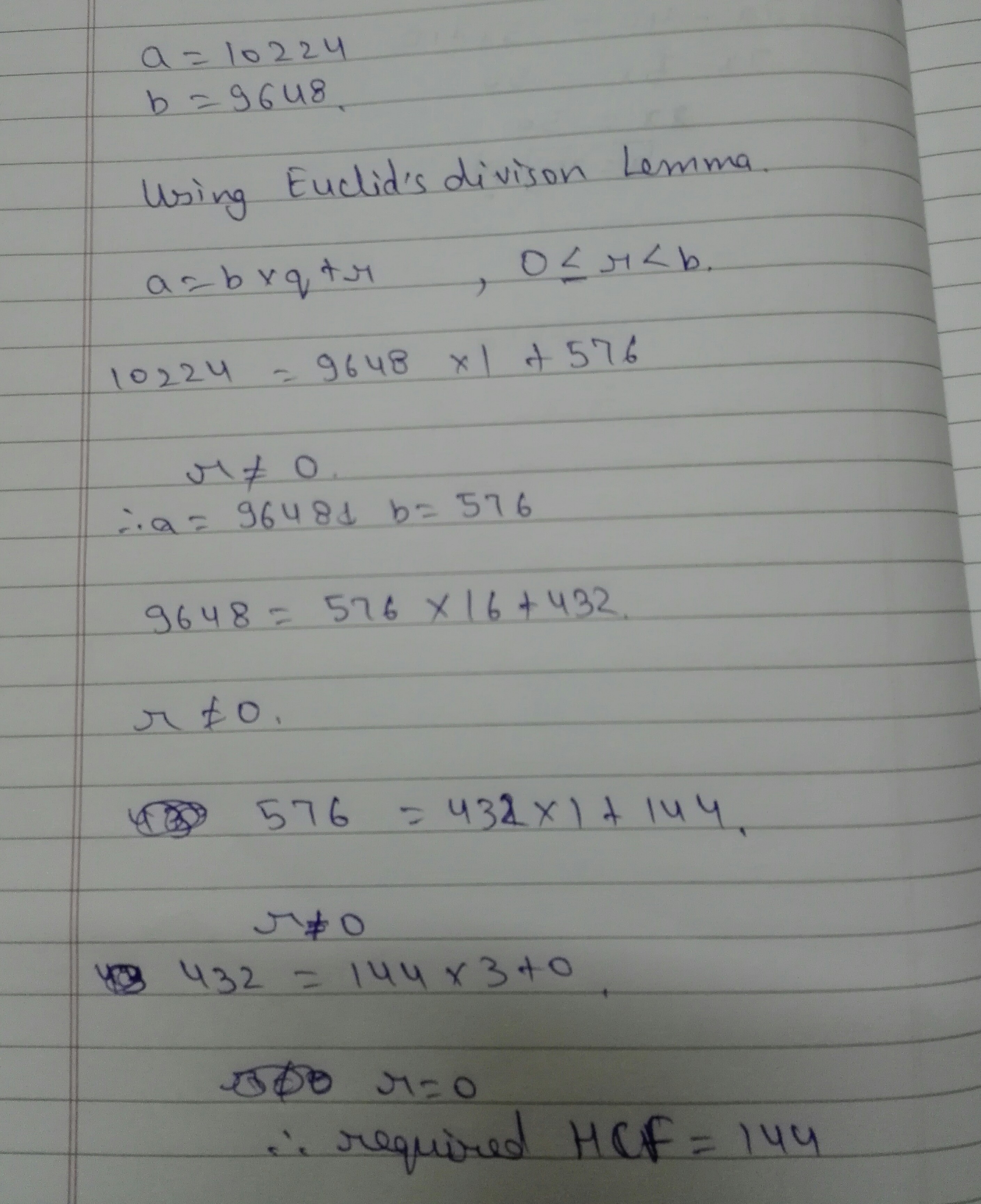 use equally division algorithm to find the HCF of 10224 and 9648
