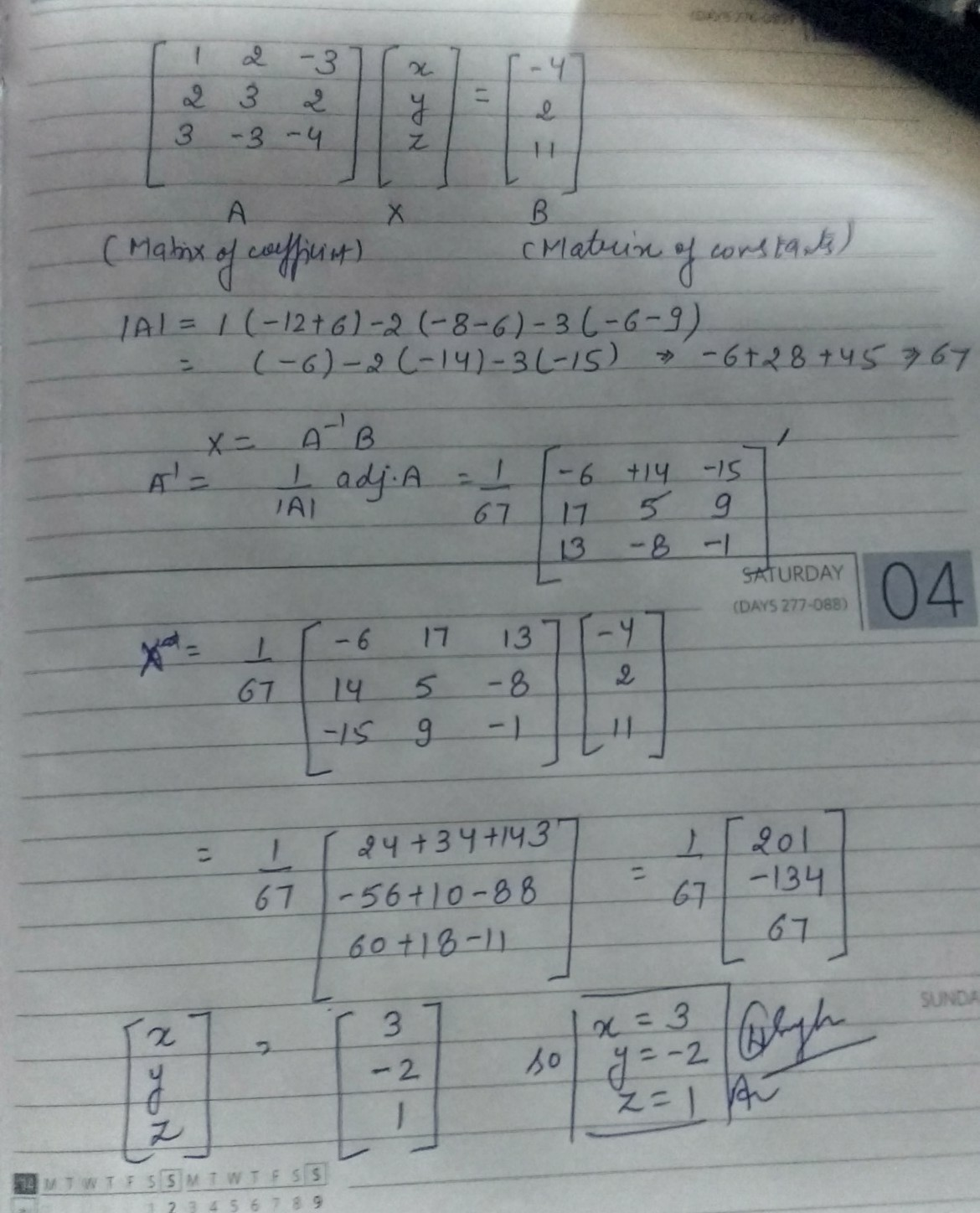 Using Matrices Solve The Following System Of Equations X 2y 3z