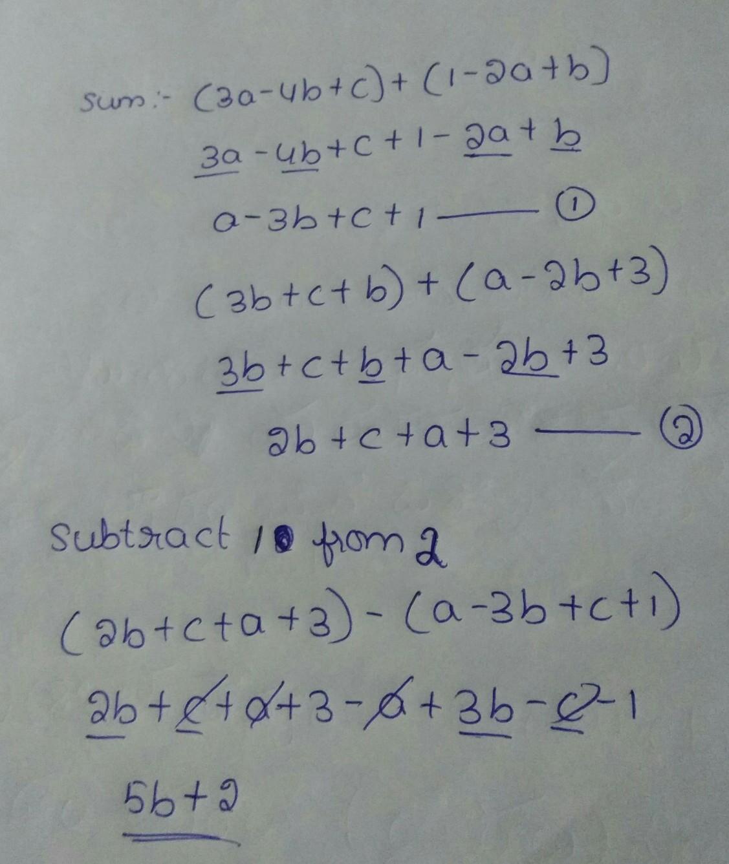 [tex] /frac{a}{3} + /frac{b-1}{2} =7[/tex] 3a -4b = 8