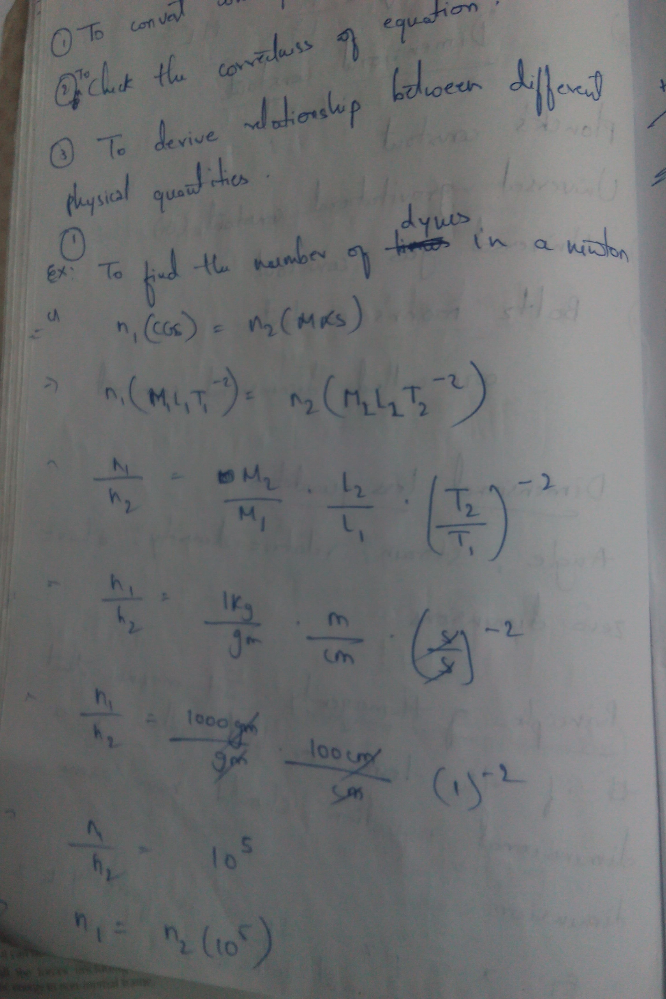 Convert 1 dyne into newton using dimensional analysis
