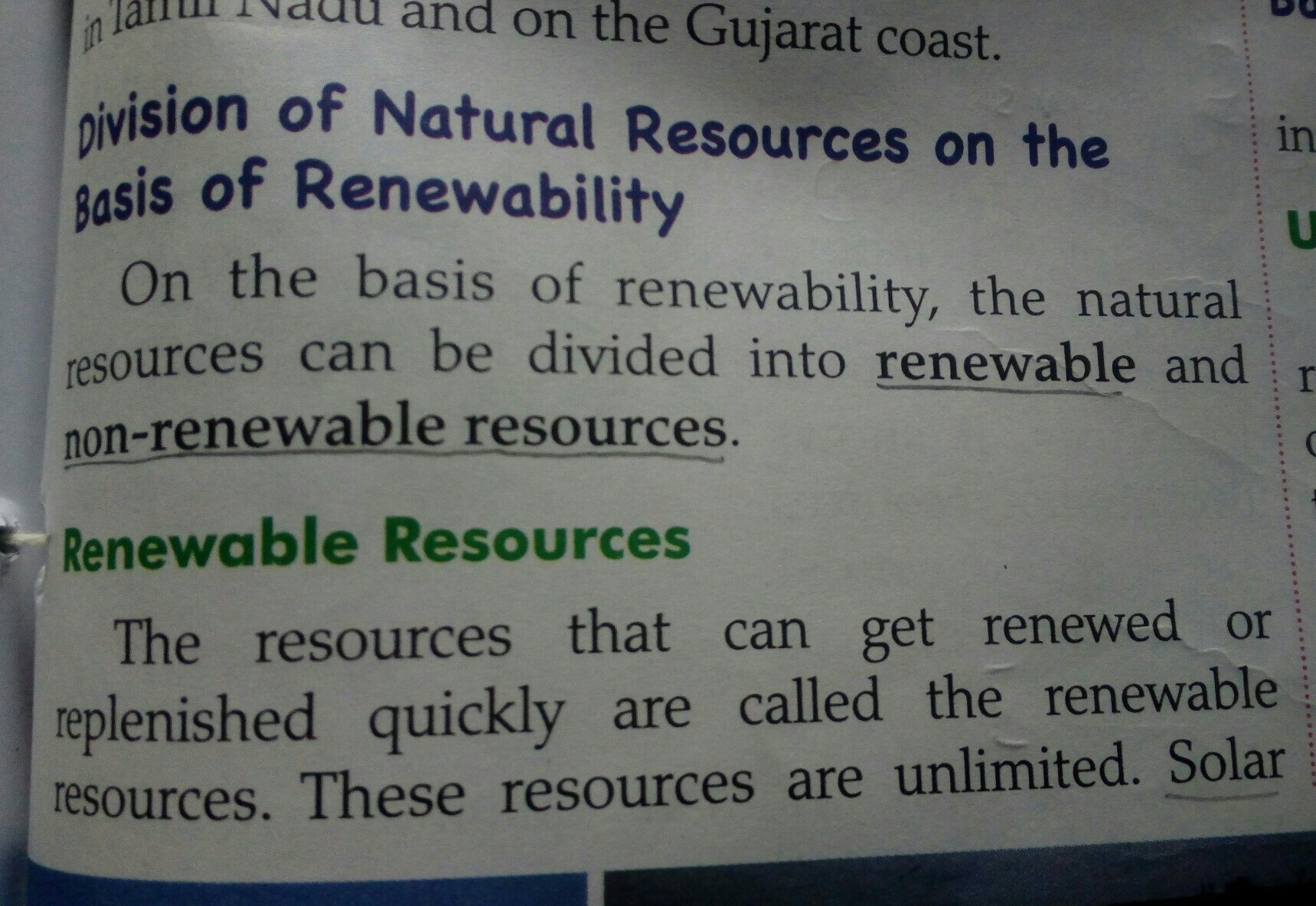 example of renewable resources and nonrenewable resources in detail