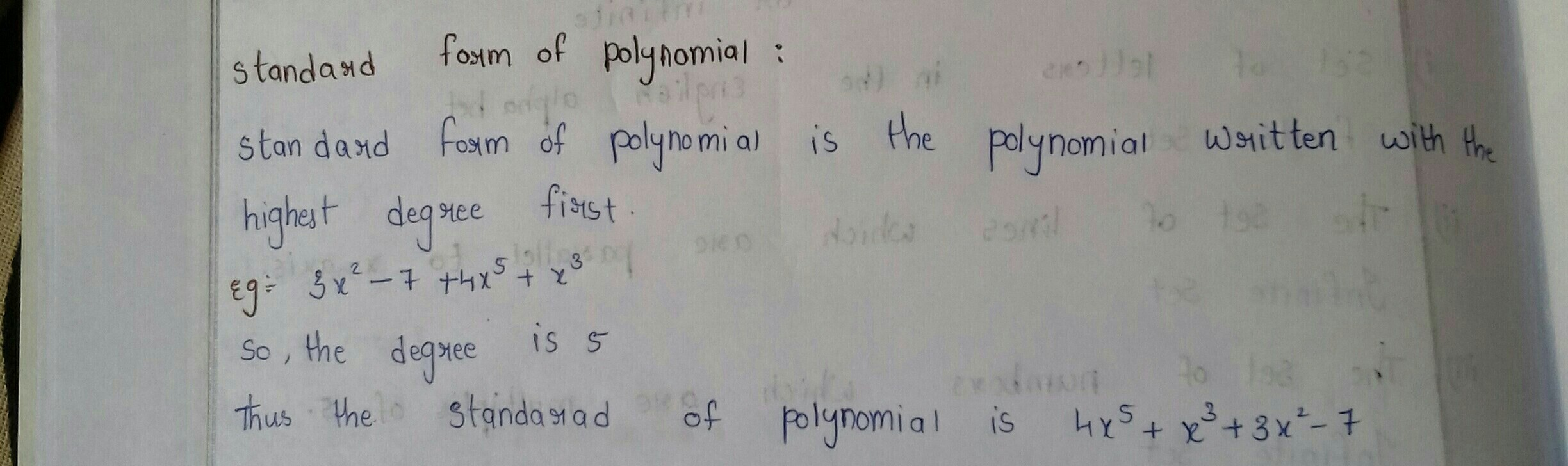 What Is The Standard Form Of A Polynomial Function Brainly