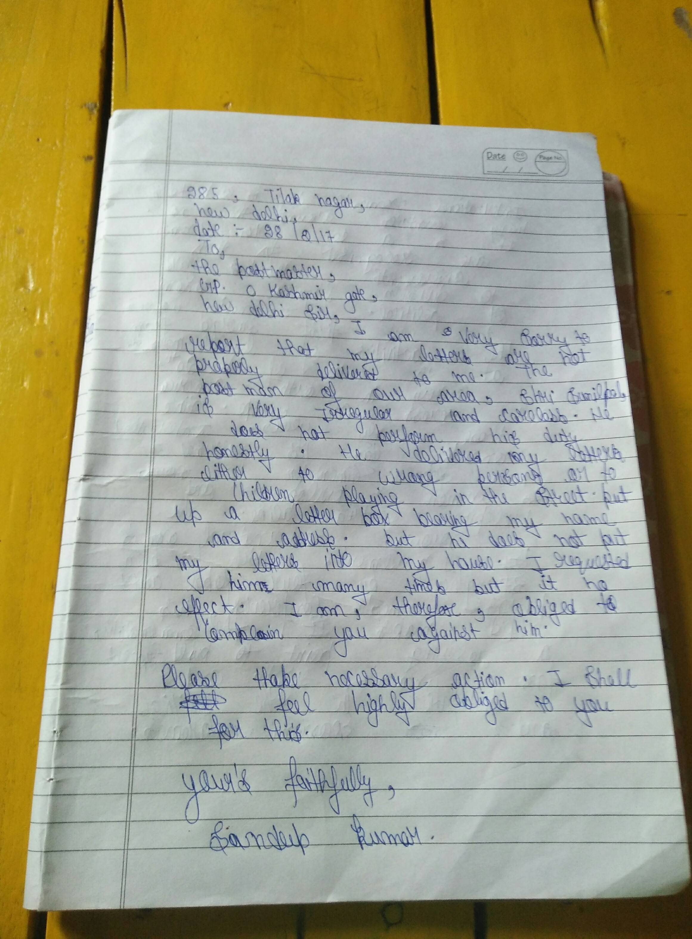 Write A Letter To The Postmaster Complining Against Wrong And