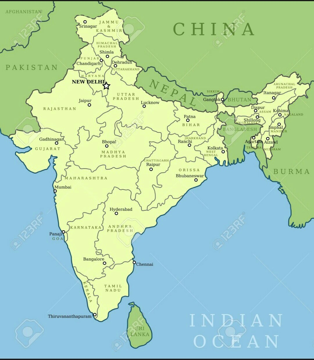 Draw A Political Map Of India And Colour The Different States With