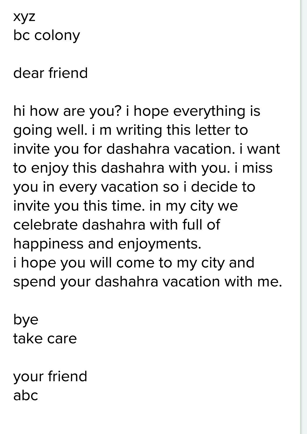 Letter To Your Friend To Spend Holidays With You In English Letter