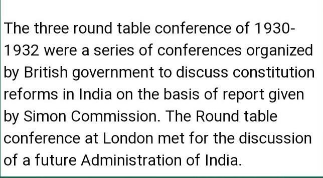 Round Table Conference At London Met, Explain Round Table Conference