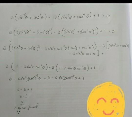 prove that 2(sin^6theta+cos^6theta)-3(sin^4theta+cos ...