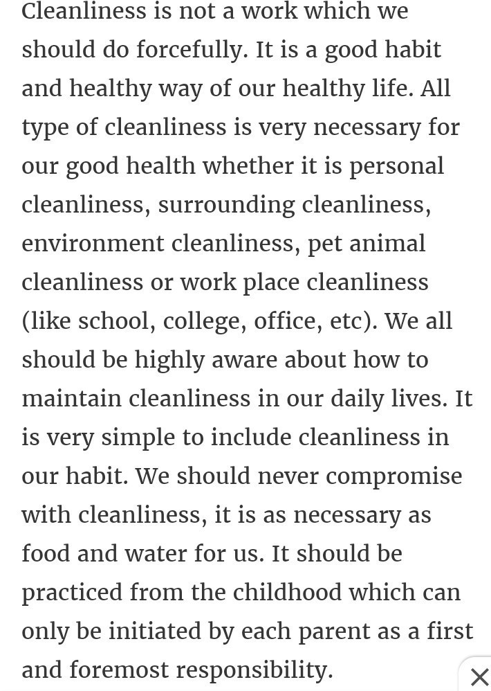 Long and Short Essay on Cleanliness in English