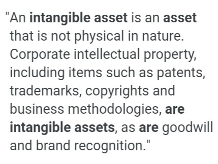 What Do You Mean By Intangible Assets Give Two Examples Brainly