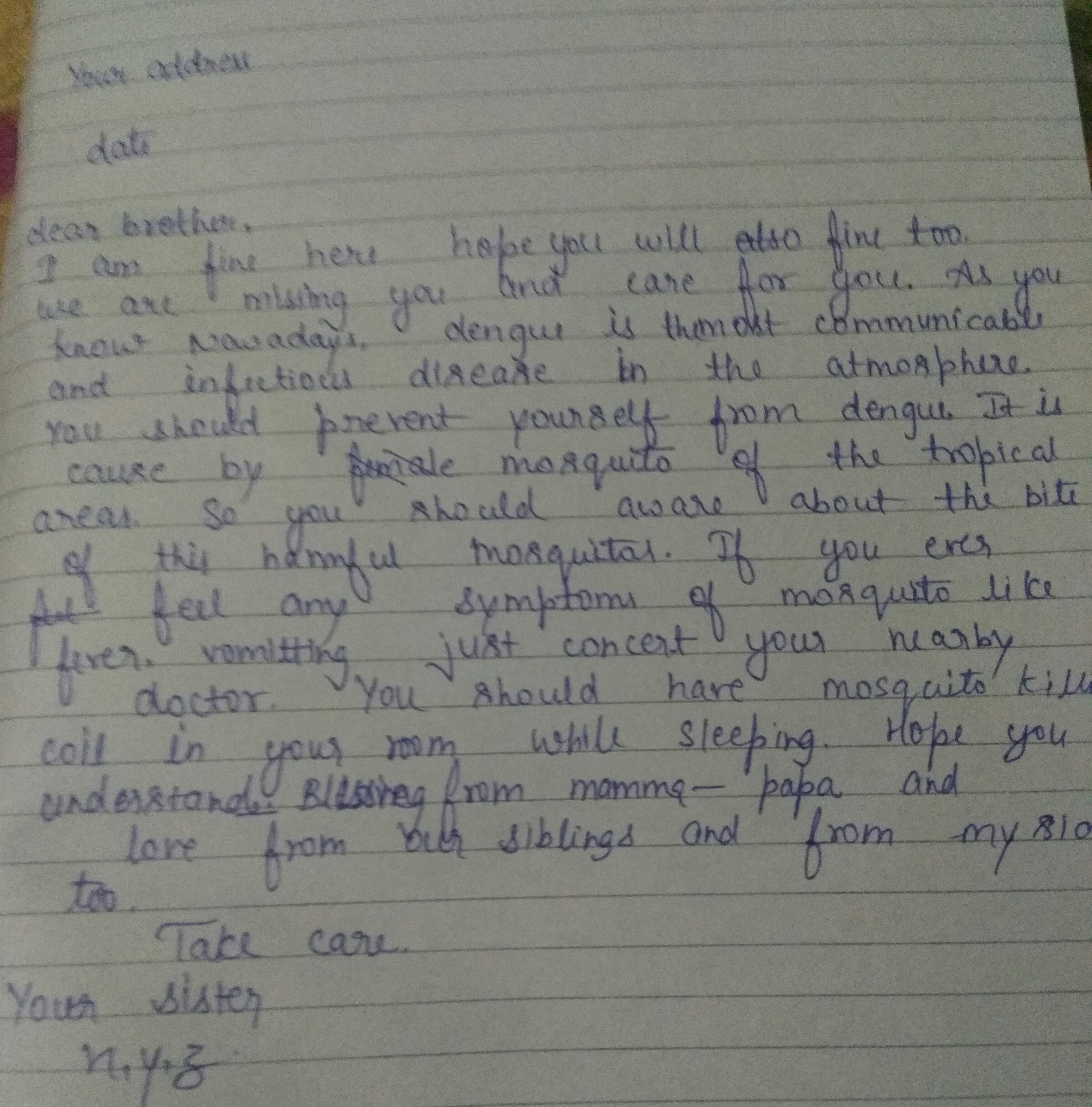 Write A Letter To Your Younger Brother Living In Hostel In Mumbai