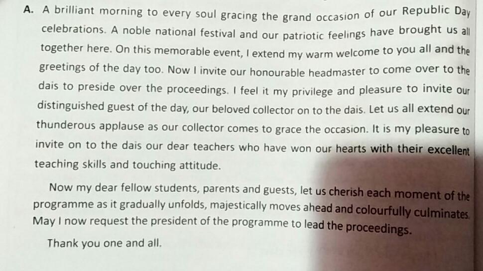 school pupil leader speech