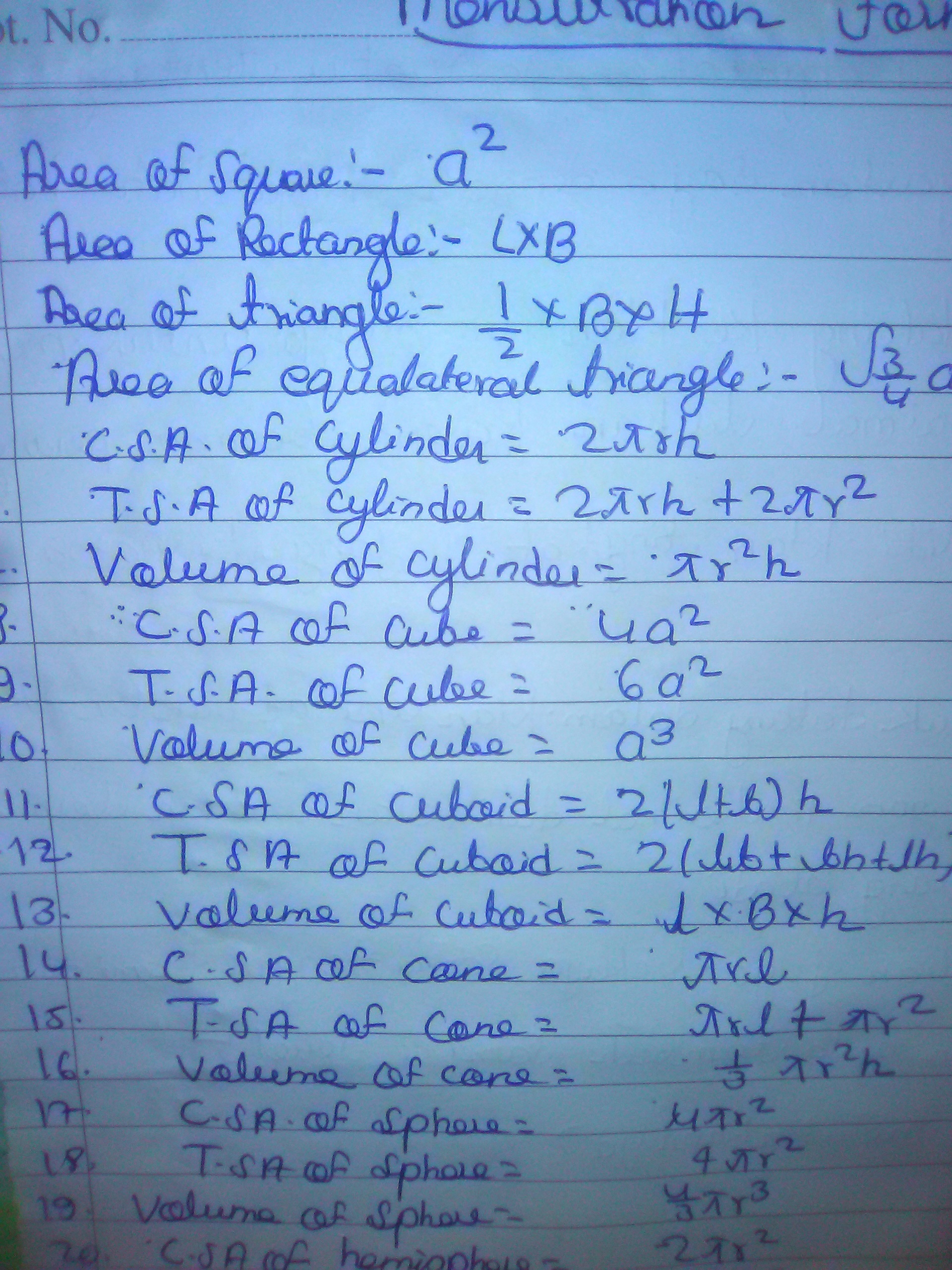 I want all MATHS FORMULAS of CLASS 9 th and 10 th