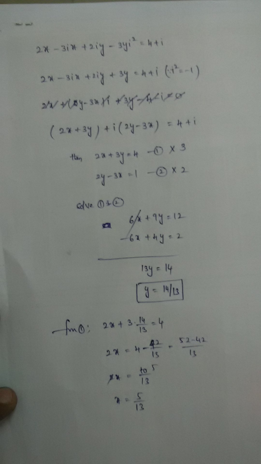 �y�.iy~��[�_findrealvalueofxandy,if(x+iy)(2-3i)=4+i-Brainly.in