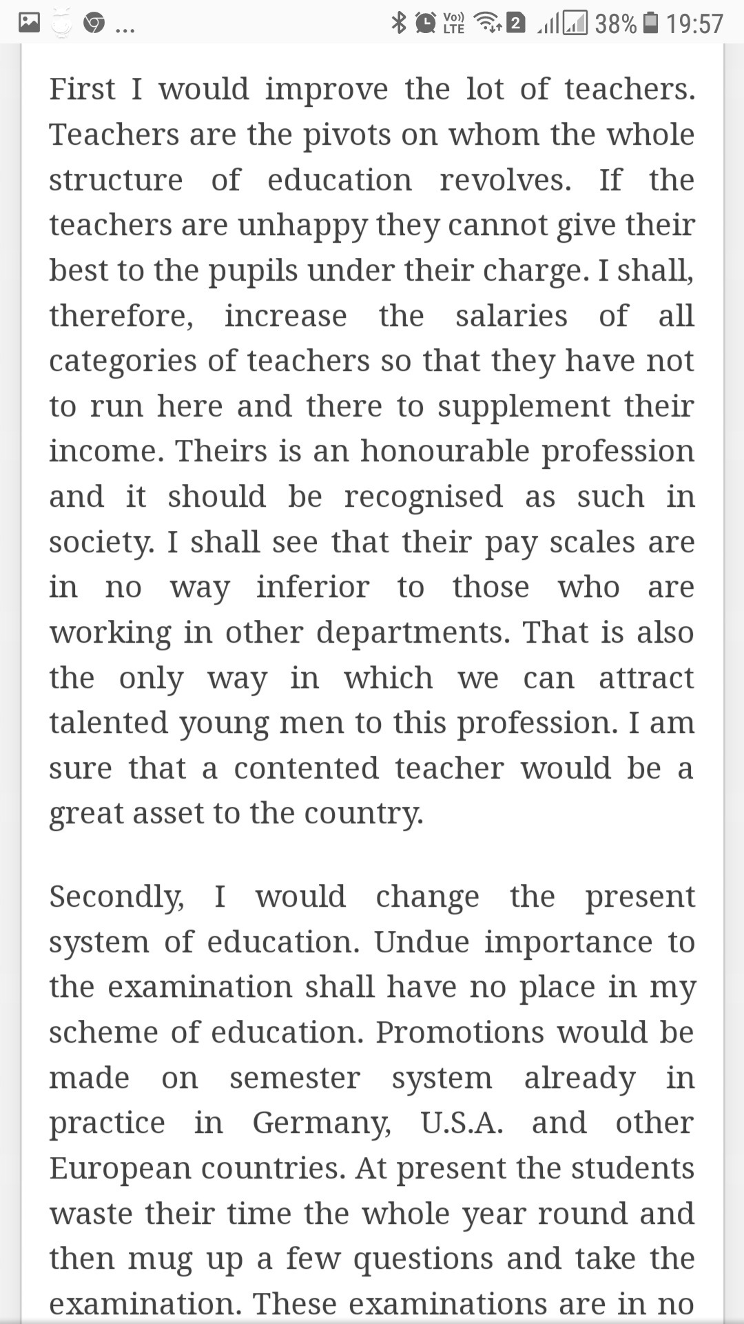 if i were the education minister
