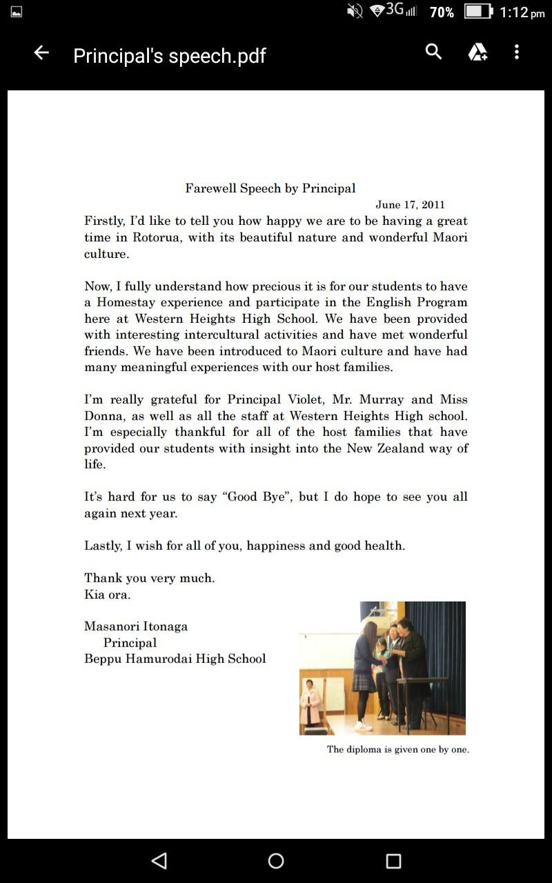 writing a farewell speech