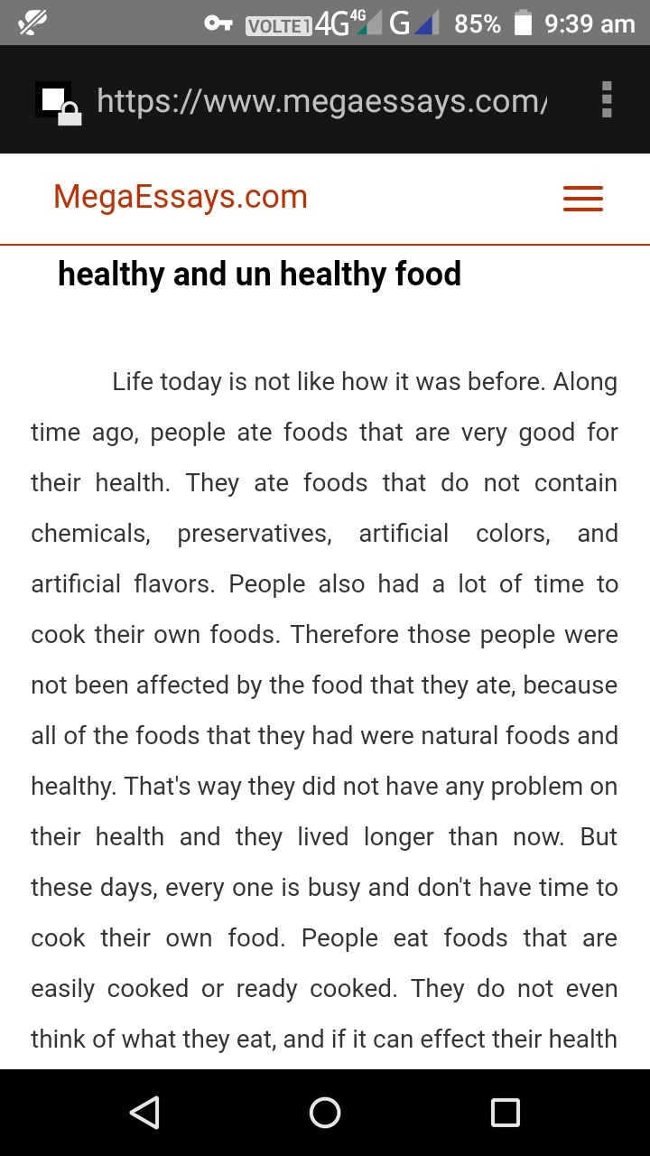 Essay healthy food vs junk food background research paper outline