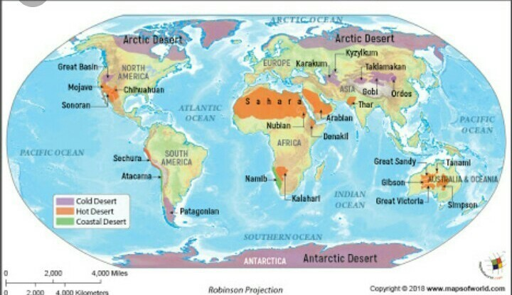 Hot deserts Of the world. Locate or show the following areas on the ...