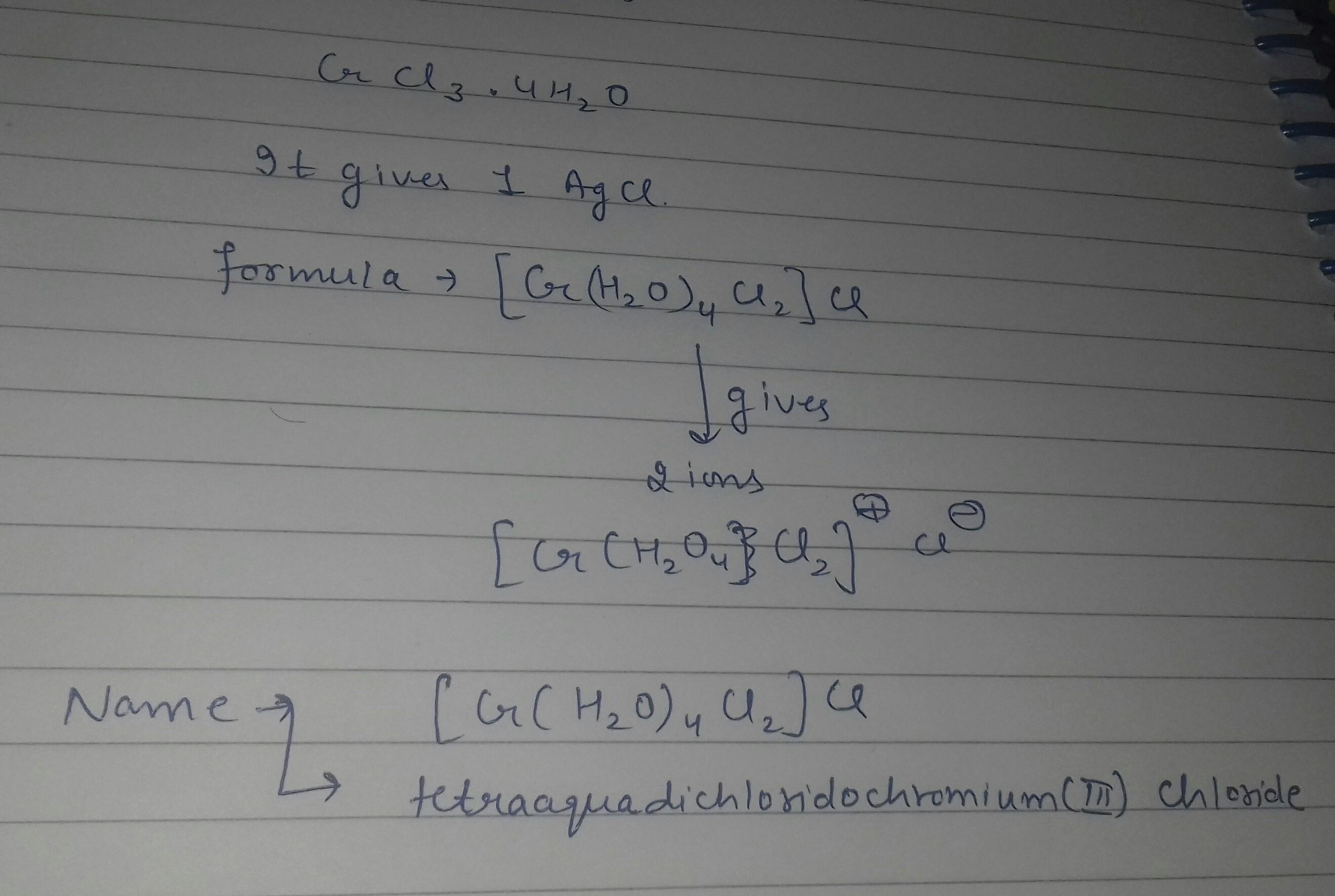 a coordination compound with molecular formula crcl3 4h2o