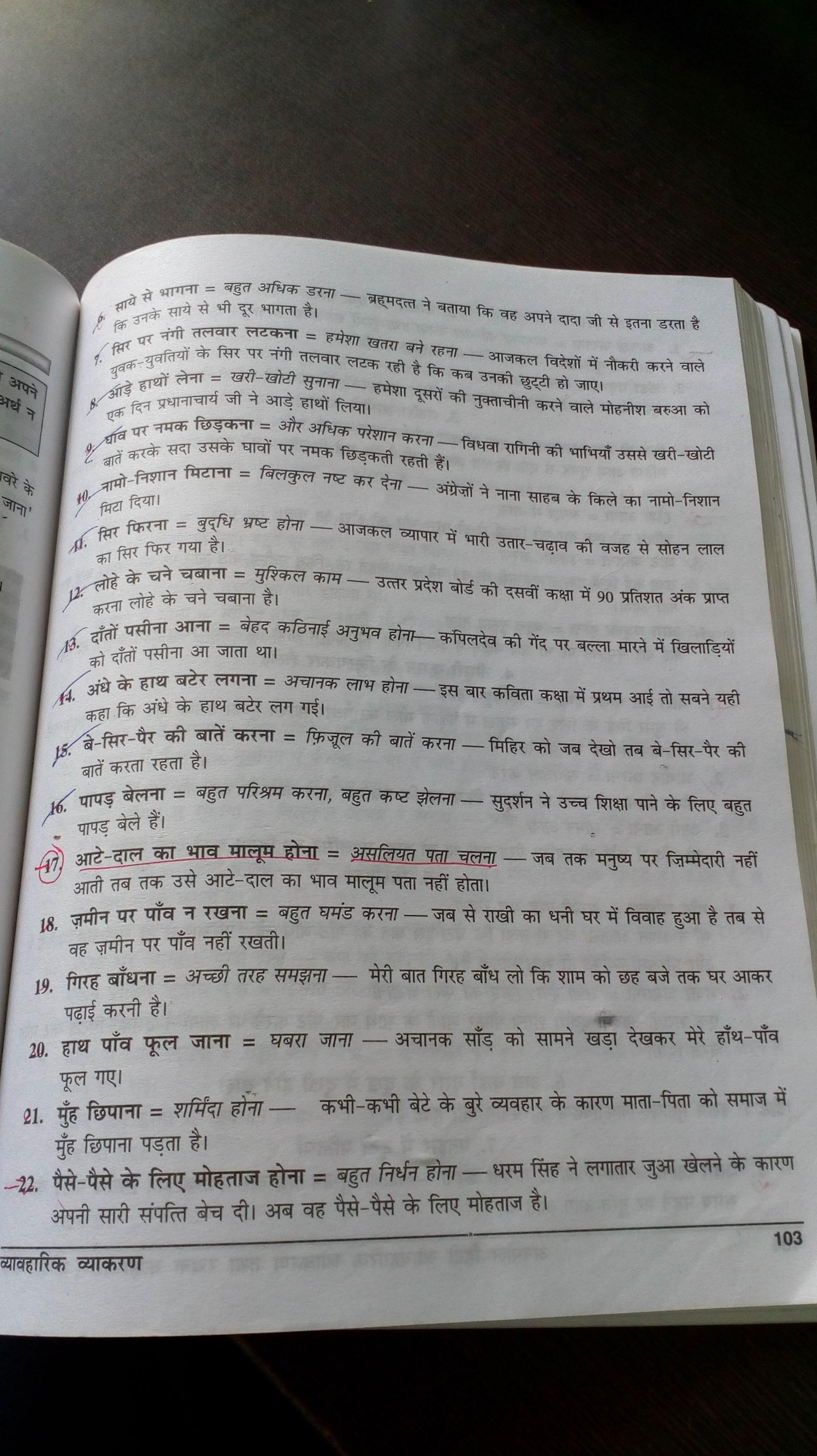 i want 20 muhavare of chapter bade bhai sahab with their