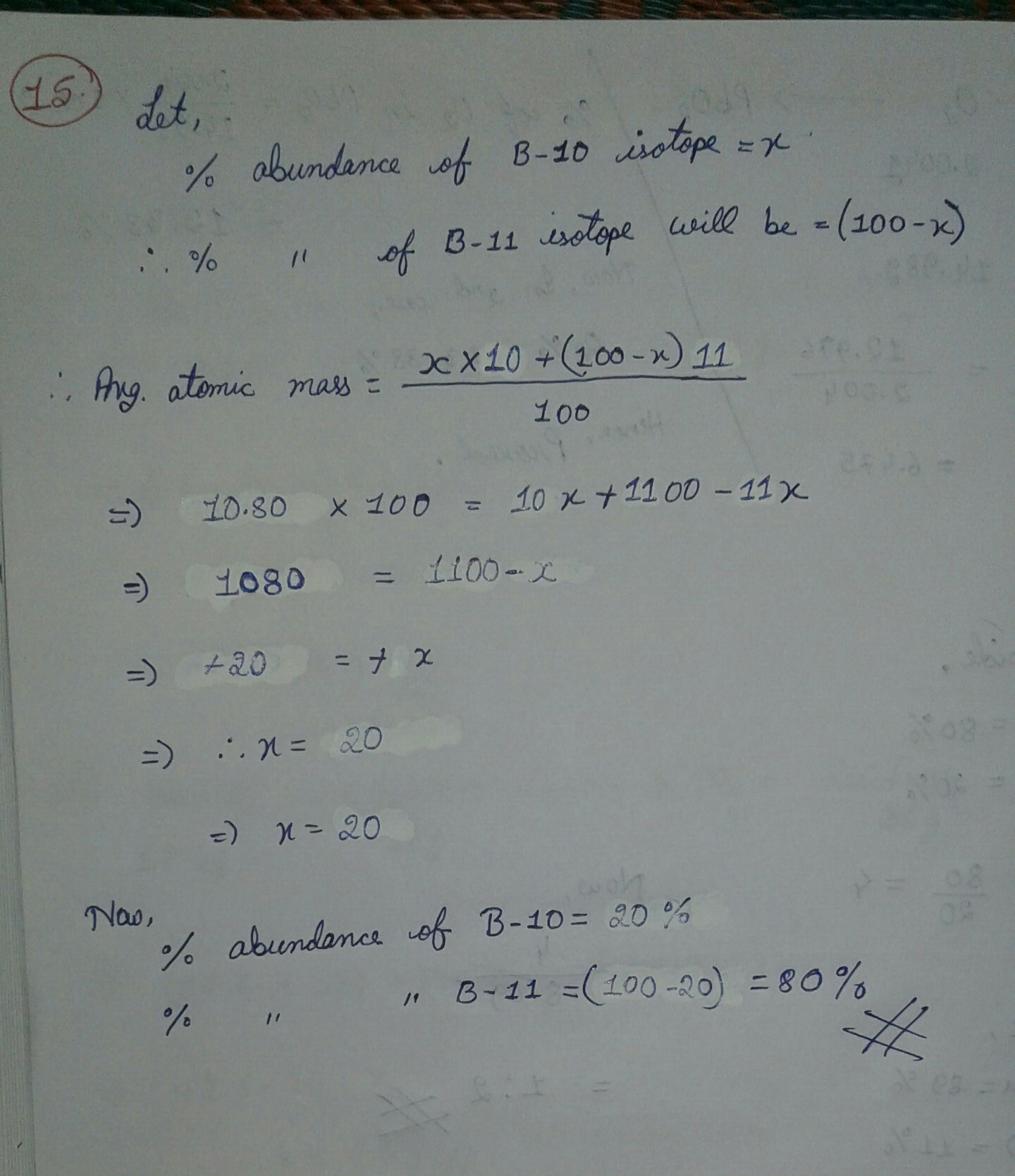 Boron has two isotopes b10 and b11 the average atomic mass of boron is  10.80u .calculate the - Brainly.in