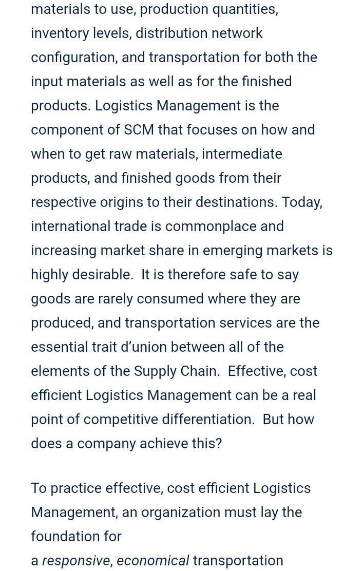 Role and importance of transportation in supply chain