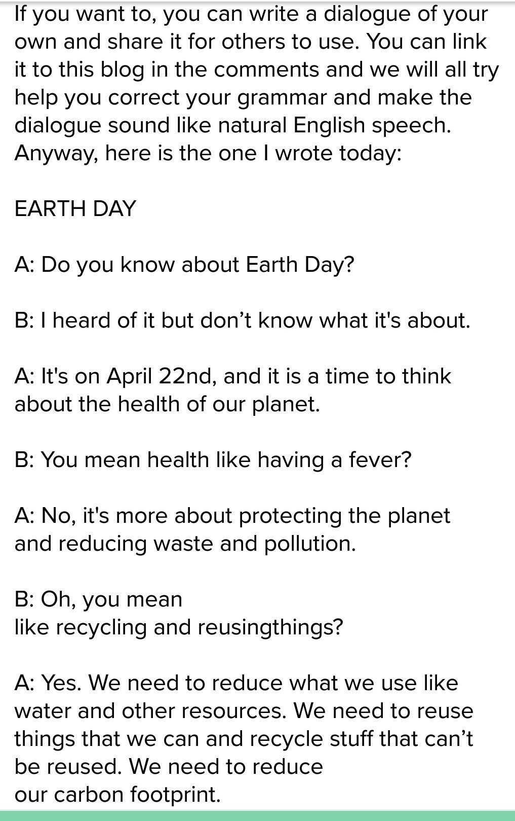 Conversation between two friends on earth day - Brainly in