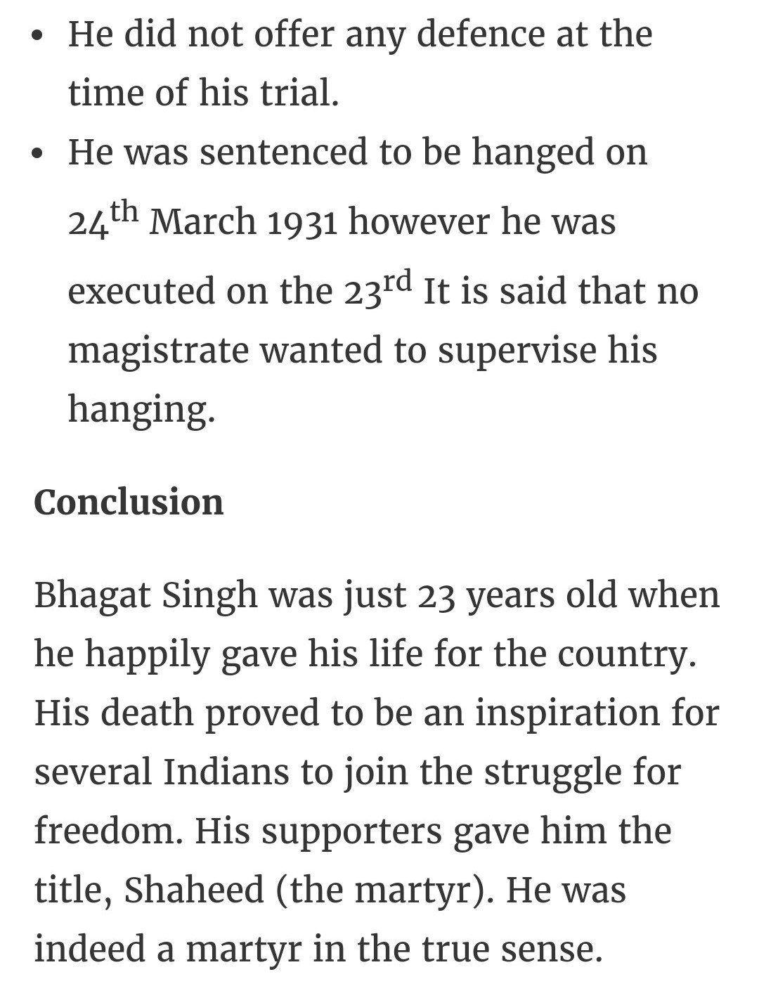 few lines on bhagat singh in english for class 1