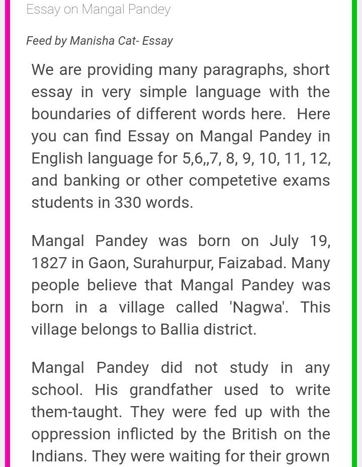 Essay on mangal pandey in english 250 words brainly in