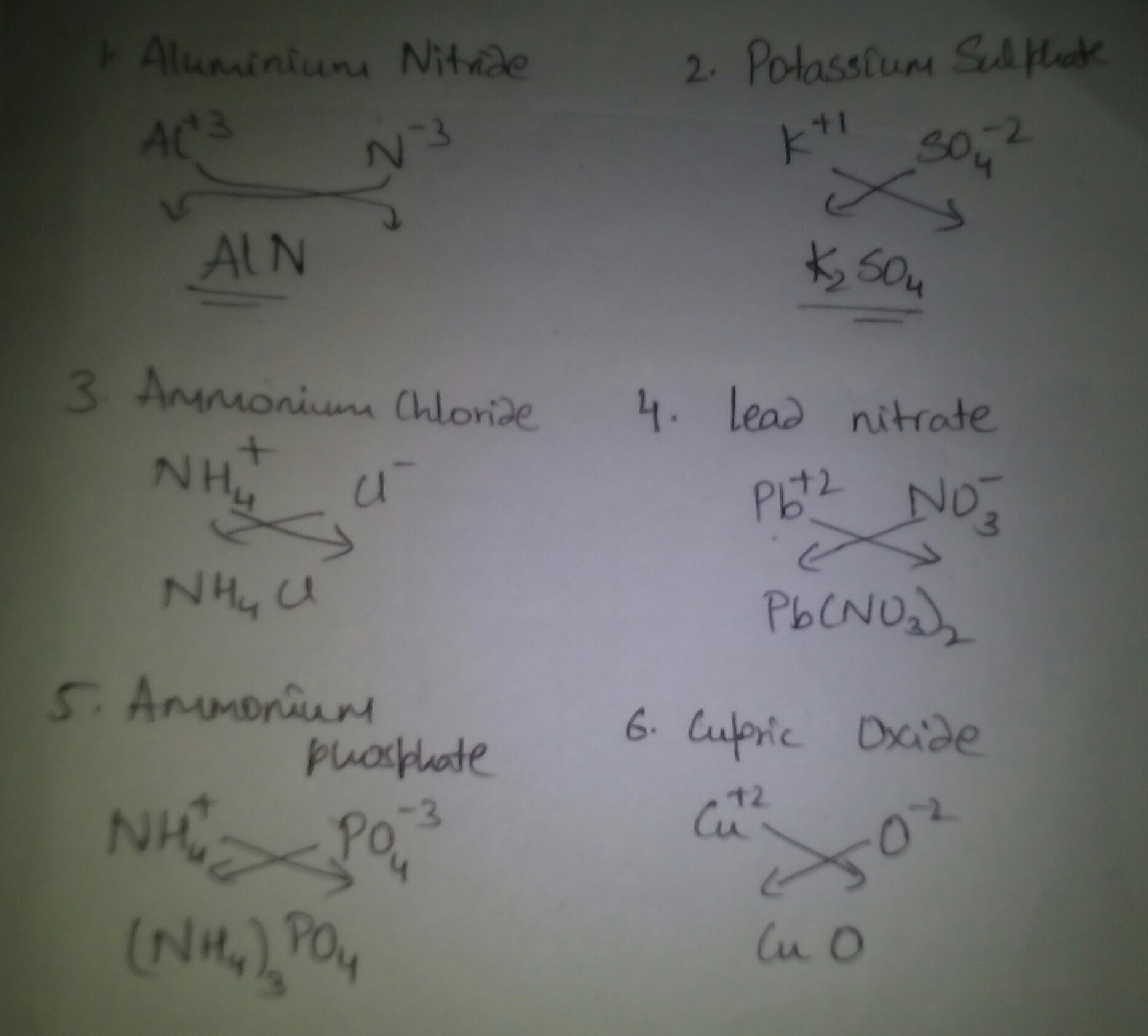 Show Me The Formula Of Following Salt By Criss Cross Method 1 Aluminium Nitride 2 Potassium Sulphate Brainly In