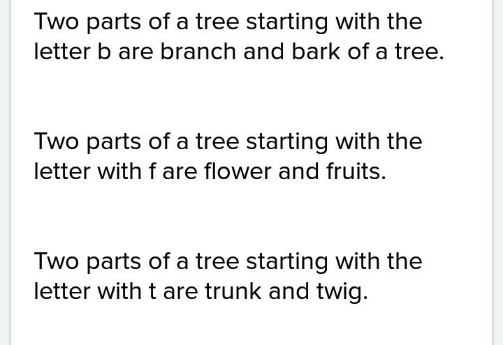 Name Two Parts Of A Tree That Begin With Bft Brainlyin