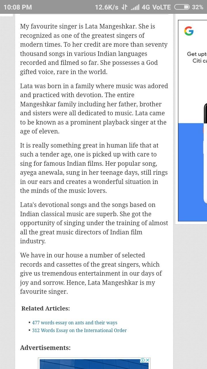 my favourite singer essay lata mangeshkar
