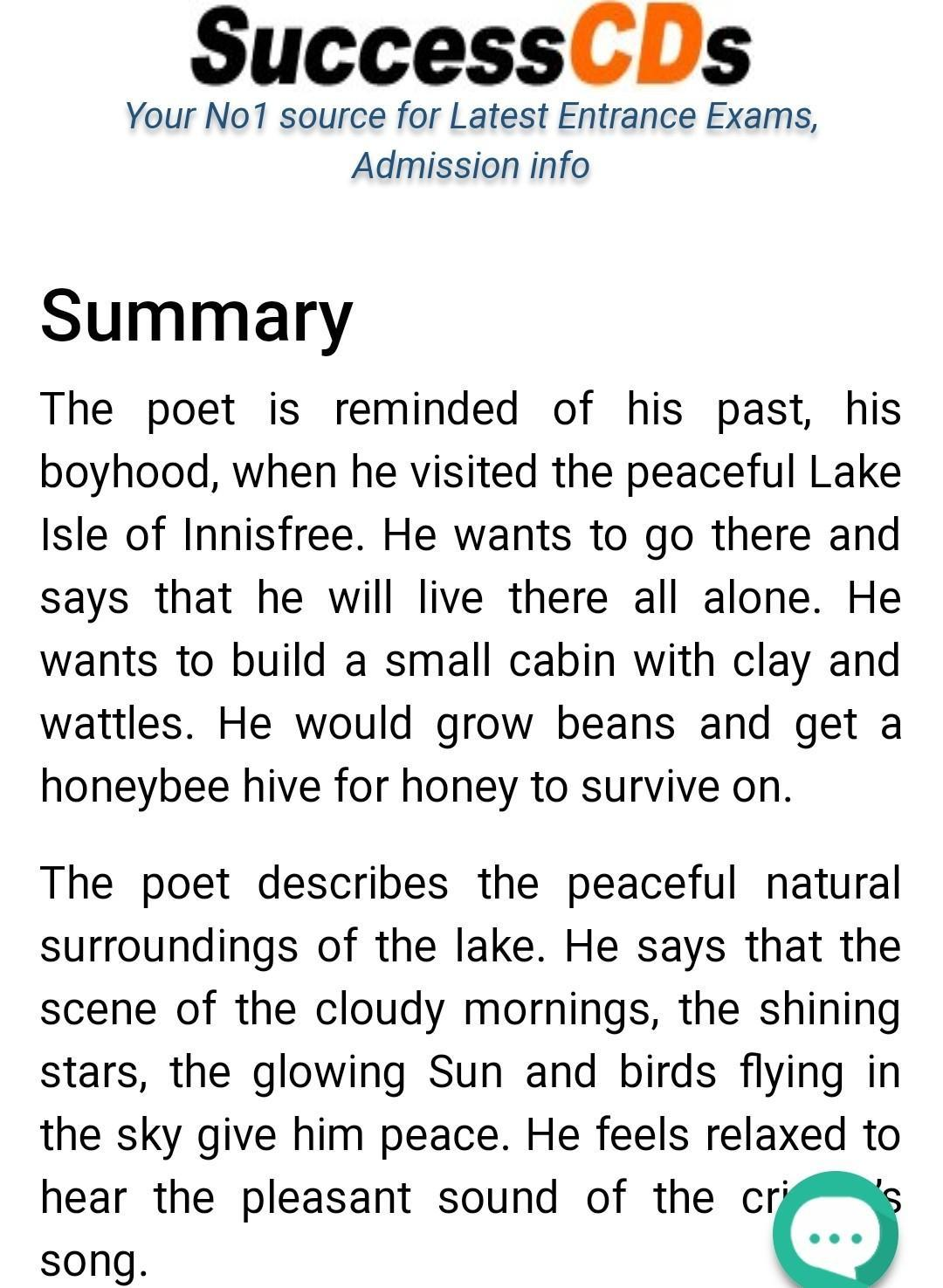Summary Of The Lake Isle Innisfree Brainly In Paraphrase Poem