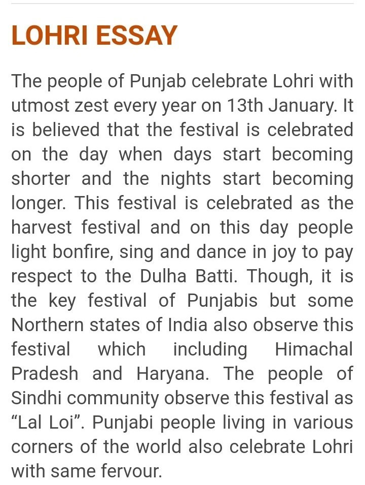 punjabi essay on lohri