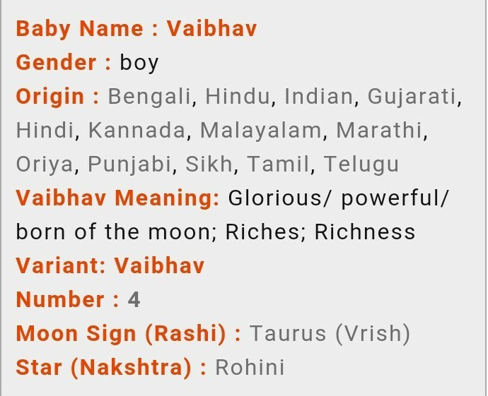 what is the meaning of Vaibhav - Brainly in