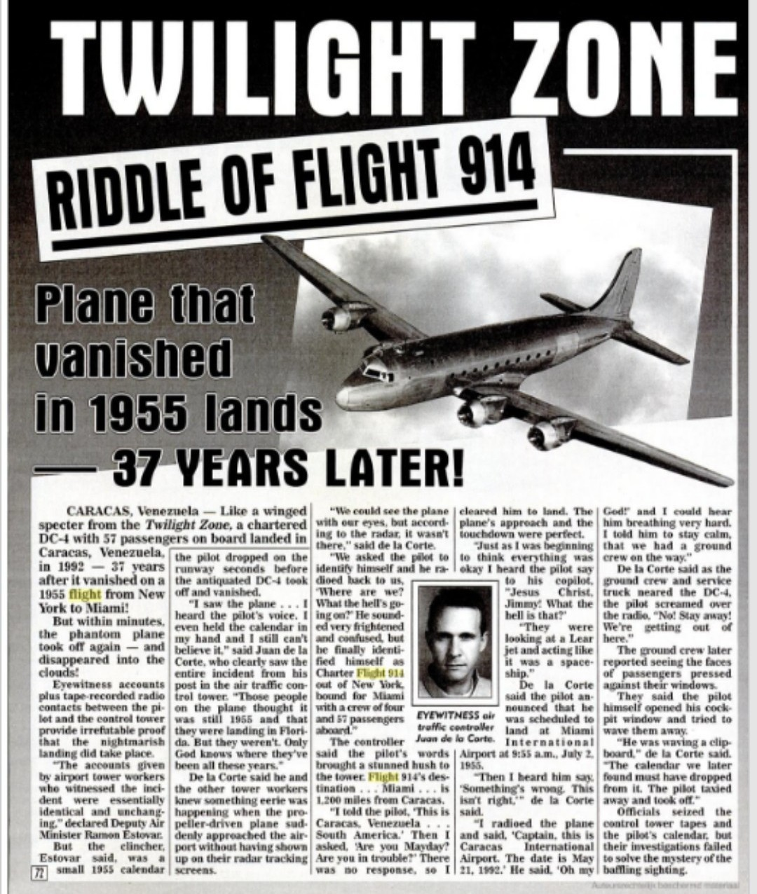 Hello What Is The True Mystery Behind The Flight 914 That Was Landed In 1955 On Lands After 37 Brainly In