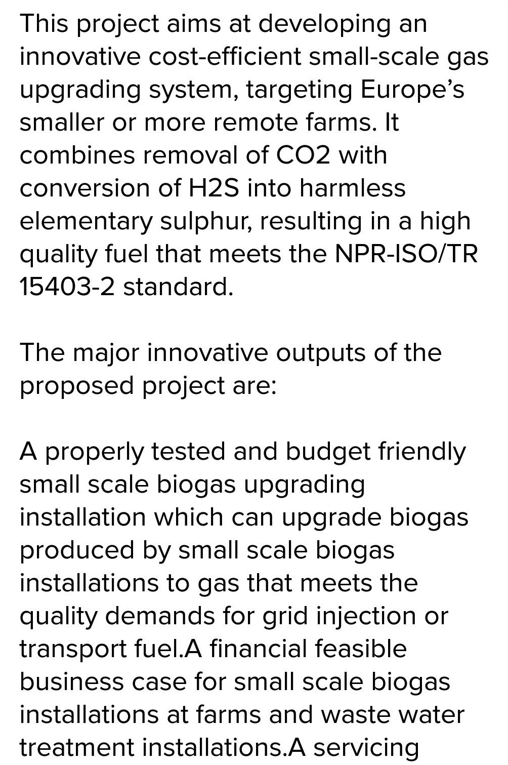 short note on biogas
