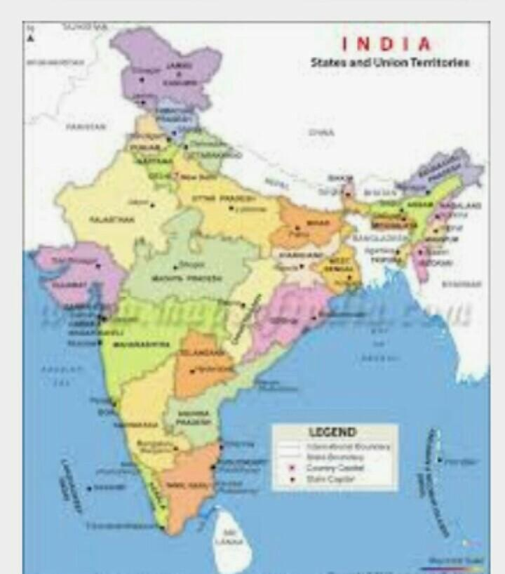 Draw India map with name of state and capital city. - inly.in on