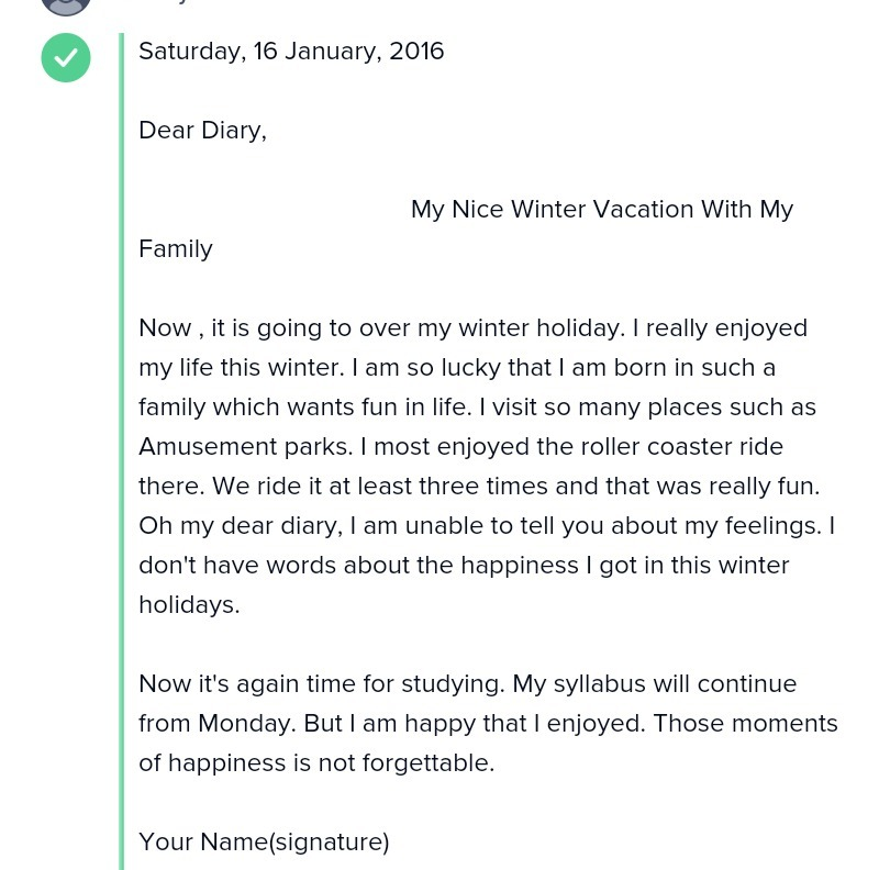 Write A Diary Everyday Of Your Winter Vacation