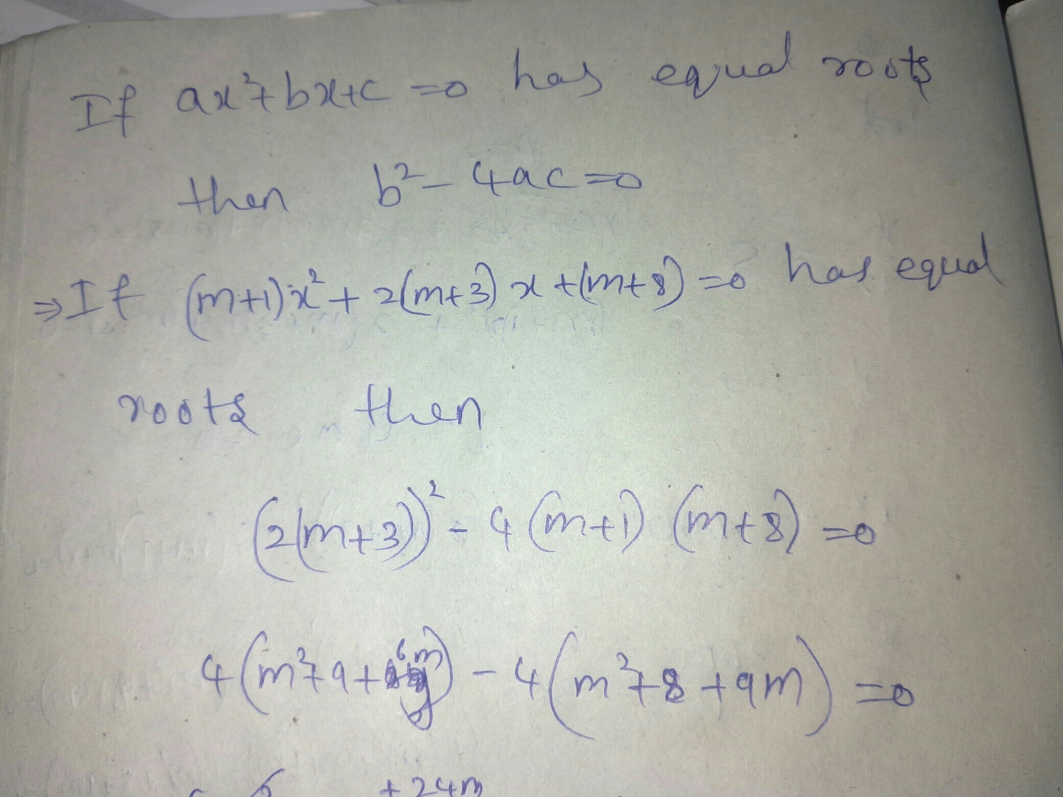 Find The Value Of M For Which The Quadratic Equation (m+1