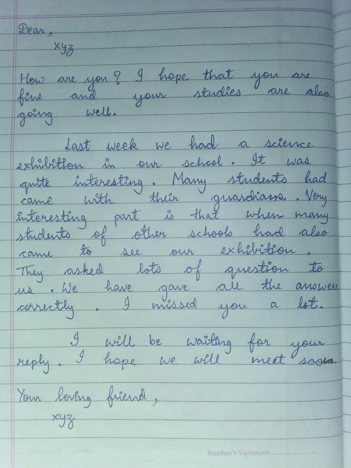 Write a letter to your friend telling him about an interesting