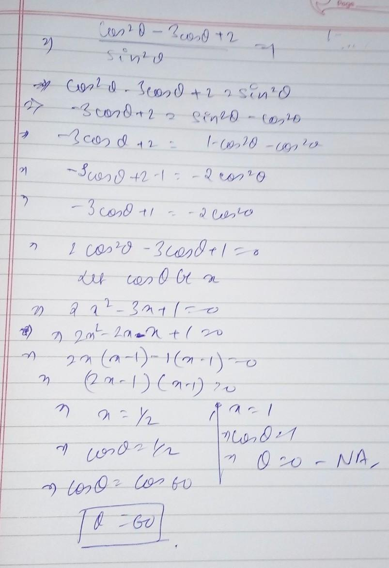 Solve For Cos 2 Theta 3 Cos Theta 2 Divide By Sin 2 Theta 1 Theta Does Not Equal To 0 If You Brainly In