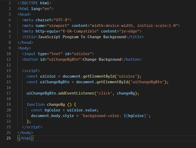 Make a web page in javascript and take background colour as an input