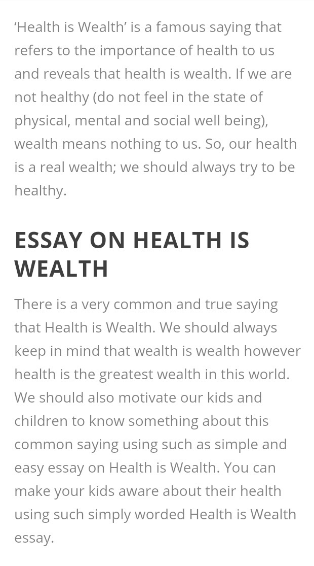 Health Is Wealth Paragraph Long Coursework Sample   Words  Health Is Wealth Paragraph Long Health Is Wealth Essay For Kids Health Is  Wealth