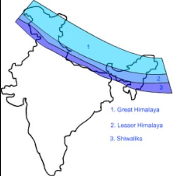 Himalaya India Map.Locate The Three Parallel Ranges Of Himalayas On India Map Brainly In