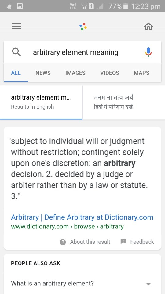 what is meaning of arbitrary element - Brainly.in